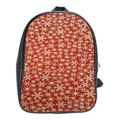 Holiday Snow Snowflakes Red School Bags(large)