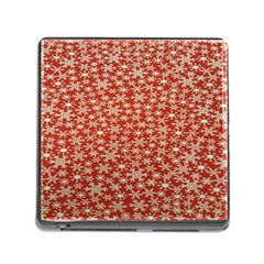 Holiday Snow Snowflakes Red Memory Card Reader (square)