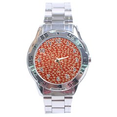 Holiday Snow Snowflakes Red Stainless Steel Analogue Watch