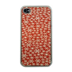 Holiday Snow Snowflakes Red Apple iPhone 4 Case (Clear)