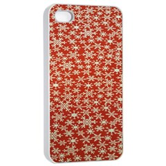 Holiday Snow Snowflakes Red Apple Iphone 4/4s Seamless Case (white)