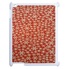 Holiday Snow Snowflakes Red Apple iPad 2 Case (White)
