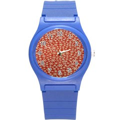 Holiday Snow Snowflakes Red Round Plastic Sport Watch (S)