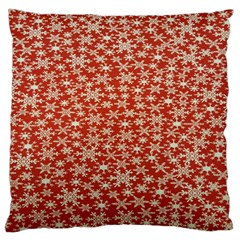 Holiday Snow Snowflakes Red Large Cushion Case (Two Sides)