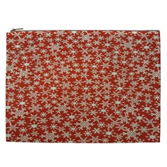 Holiday Snow Snowflakes Red Cosmetic Bag (XXL)