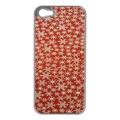 Holiday Snow Snowflakes Red Apple Iphone 5 Case (silver)