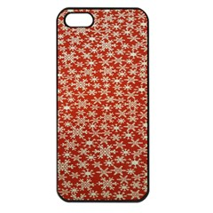 Holiday Snow Snowflakes Red Apple Iphone 5 Seamless Case (black)