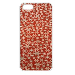 Holiday Snow Snowflakes Red Apple iPhone 5 Seamless Case (White)
