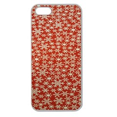 Holiday Snow Snowflakes Red Apple Seamless iPhone 5 Case (Clear)
