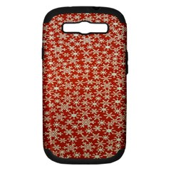 Holiday Snow Snowflakes Red Samsung Galaxy S Iii Hardshell Case (pc+silicone)