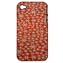 Holiday Snow Snowflakes Red Apple Iphone 4/4s Hardshell Case (pc+silicone)