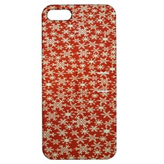 Holiday Snow Snowflakes Red Apple Iphone 5 Hardshell Case With Stand