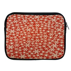 Holiday Snow Snowflakes Red Apple Ipad 2/3/4 Zipper Cases