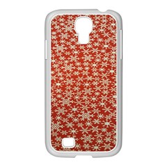 Holiday Snow Snowflakes Red Samsung Galaxy S4 I9500/ I9505 Case (white)