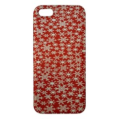 Holiday Snow Snowflakes Red iPhone 5S/ SE Premium Hardshell Case