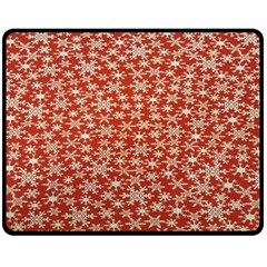 Holiday Snow Snowflakes Red Double Sided Fleece Blanket (medium)