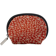 Holiday Snow Snowflakes Red Accessory Pouches (small)