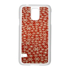 Holiday Snow Snowflakes Red Samsung Galaxy S5 Case (white)