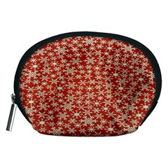 Holiday Snow Snowflakes Red Accessory Pouches (Medium)