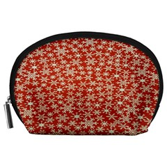 Holiday Snow Snowflakes Red Accessory Pouches (large)