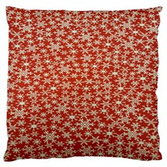 Holiday Snow Snowflakes Red Large Flano Cushion Case (one Side)