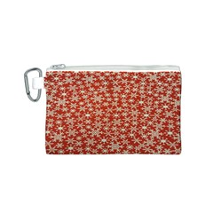 Holiday Snow Snowflakes Red Canvas Cosmetic Bag (S)