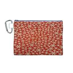 Holiday Snow Snowflakes Red Canvas Cosmetic Bag (M)