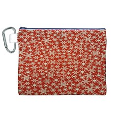 Holiday Snow Snowflakes Red Canvas Cosmetic Bag (xl)