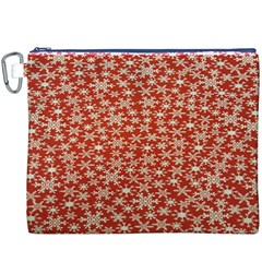 Holiday Snow Snowflakes Red Canvas Cosmetic Bag (xxxl)