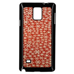 Holiday Snow Snowflakes Red Samsung Galaxy Note 4 Case (Black)