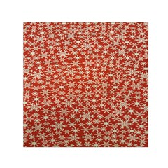 Holiday Snow Snowflakes Red Small Satin Scarf (square)