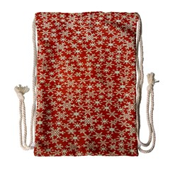 Holiday Snow Snowflakes Red Drawstring Bag (Large)