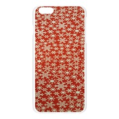 Holiday Snow Snowflakes Red Apple Seamless iPhone 6 Plus/6S Plus Case (Transparent)