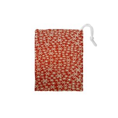 Holiday Snow Snowflakes Red Drawstring Pouches (xs)