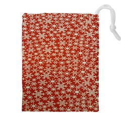 Holiday Snow Snowflakes Red Drawstring Pouches (XXL)