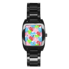 Holidays Occasions Valentine Stainless Steel Barrel Watch