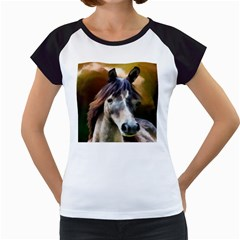 Horse Horse Portrait Animal Women s Cap Sleeve T