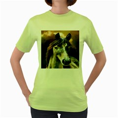 Horse Horse Portrait Animal Women s Green T-Shirt