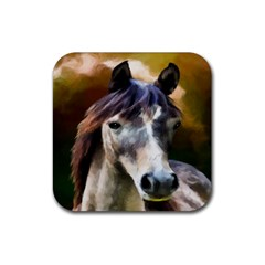 Horse Horse Portrait Animal Rubber Square Coaster (4 pack)