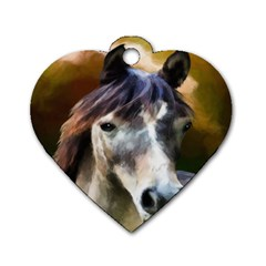 Horse Horse Portrait Animal Dog Tag Heart (two Sides)