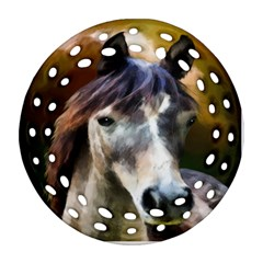 Horse Horse Portrait Animal Round Filigree Ornament (two Sides)
