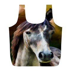 Horse Horse Portrait Animal Full Print Recycle Bags (l)