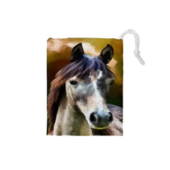 Horse Horse Portrait Animal Drawstring Pouches (small)