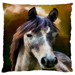 Horse Horse Portrait Animal Large Flano Cushion Case (two Sides)