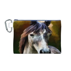 Horse Horse Portrait Animal Canvas Cosmetic Bag (m)