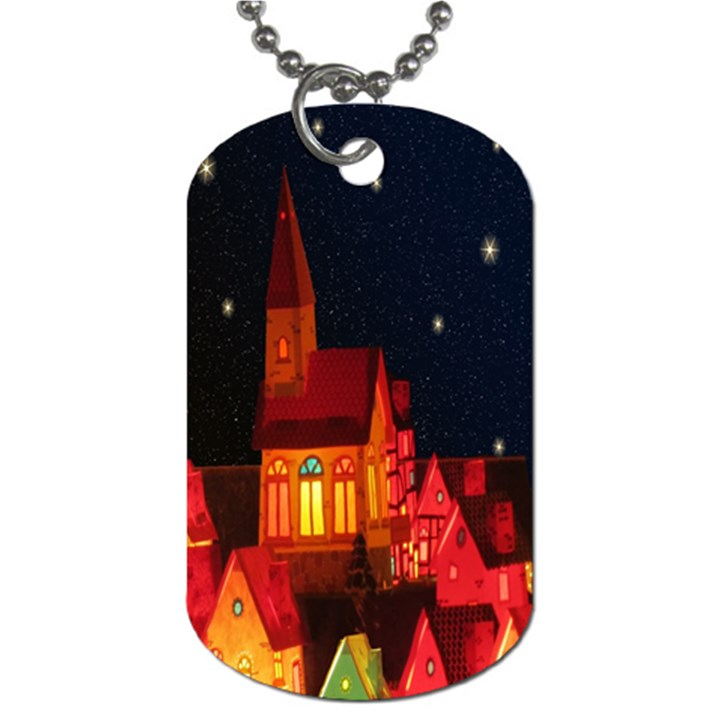 Market Christmas Light Dog Tag (One Side)