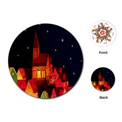 Market Christmas Light Playing Cards (round)