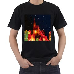 Market Christmas Light Men s T-Shirt (Black)