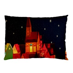 Market Christmas Light Pillow Case (Two Sides)