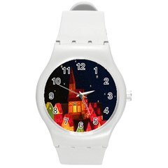 Market Christmas Light Round Plastic Sport Watch (M)